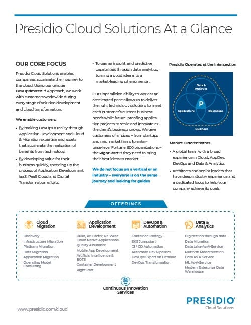 Presidio Cloud Solutions at a Glance