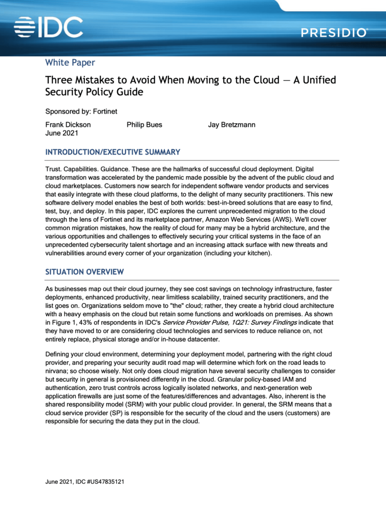 Three Mistakes to Avoid When Moving to the Cloud – A Unified Security Policy Gide