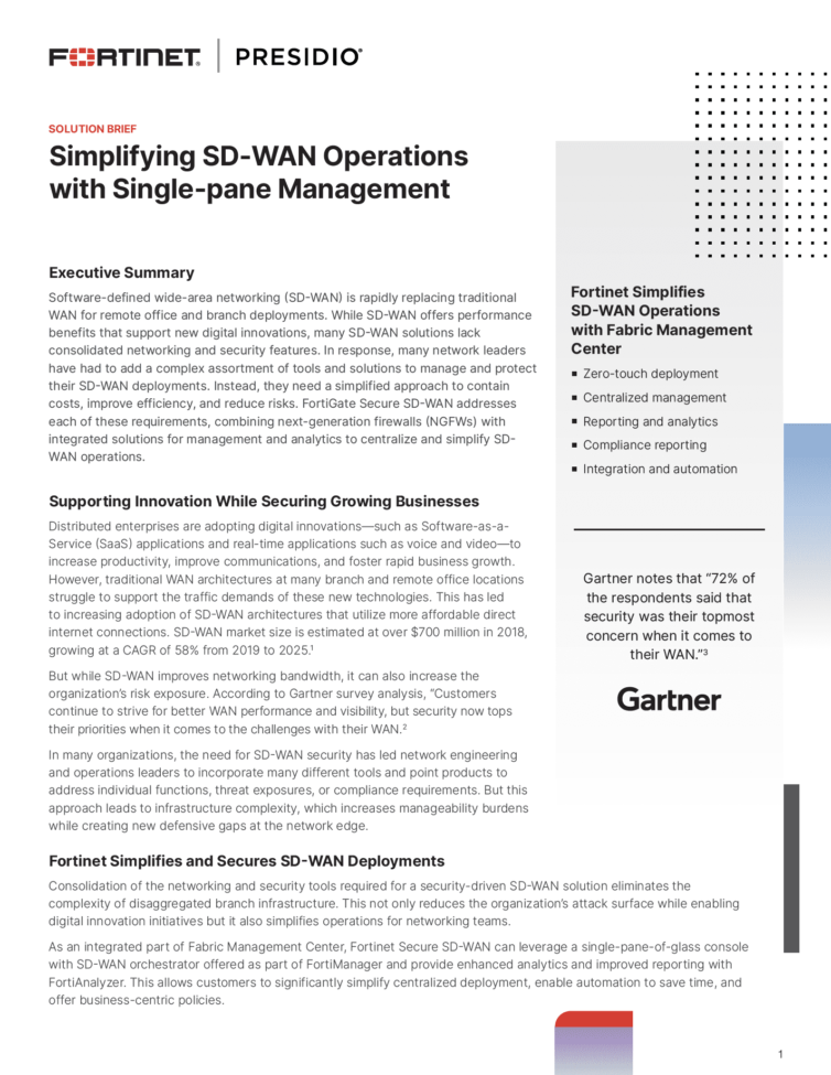 Simplifying SD-WAN Operations with Single-pane Management